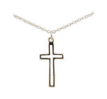 Silver First Holy Communion Necklace With Cross
