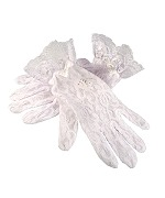 White Lace Communion Gloves